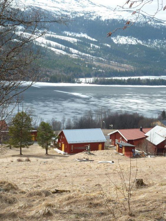 Huizen aan de rivier Åresjön